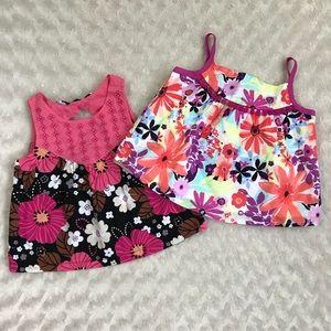 Gymboree Sleeveless Tops Floral Shirts Pink Black